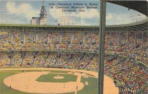 F54/ Cleveland Ohio Postcard Linen Stadium Indians Baseball Interior Game 3