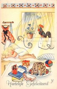 Hartelijk Gefeliciteerd! Birthday! Baby asleep, morning rooster, presents, gifts