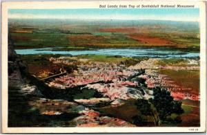 Bad Lands from Top of Scottsbluff National Monument SD c1938 Vtg Postcard H05
