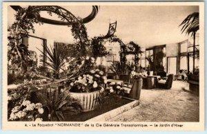 French Cruise Ship NORMANDIE  Le Jardin d'Hiver WINTER GARDEN   Postcard