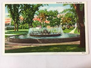 1946 City Park Fountain, Fremont, NE Postcard