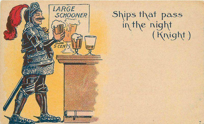Artist impression Knight Beer Drinking Comic 5735 Military Armour C-1910