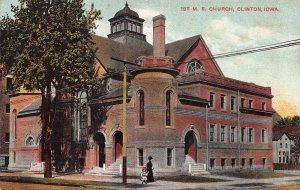 First M. E. Church, Clinton, Iowa, Early Postcard, unused