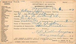 Department of Health, Morbidity Report Pennsylvania, USA Medical 1917