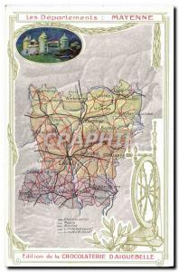 Old Postcard geographical maps of Chocolaterie & # 39Aiguebelle mayonnaise Ch...