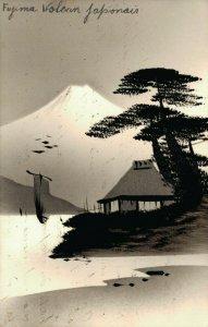 Japan Fuji volcano Japan Hand Painted Postcard 03.79