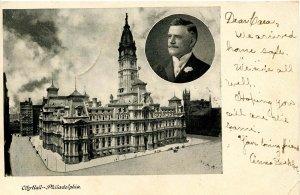 PA - Philadelphia. City Hall and Mayor John Weaver inset