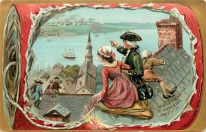 Embossed Tuck Independence Day Postcard 159 Viewing the Battle of Bunker Hill