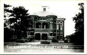 Vtg Postcard 1940s RPPC Caldwell County Court House Kingston Missouri MO UNP