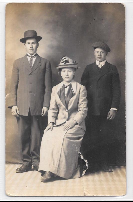 Antique RPPC Real Photo Postcard Family In Formal Clothes Dress Photo Shoot