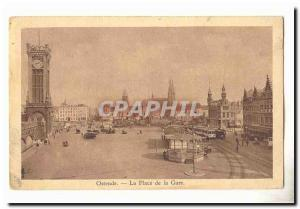 Oostende Old Postcard The station square