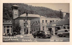Grundy Virginia Courthouse and Gas Station Real Photo Postcard JJ658703