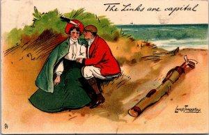 Funny flirty golf image good looking Edwardian couple c1905