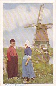 Netherlands Volendam Molenzicht Windmill Couple In Local Costume