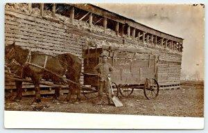 Real Photo Postcard~Farmer~Corn Crib~Shovel 56 Bushells~Horse Wagon~Dec 12 1906