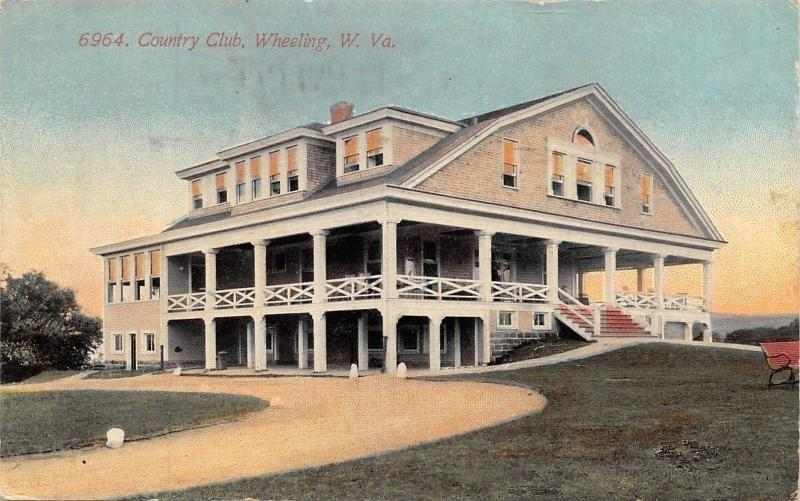 Wheeling West Virginia~Country Club House~Wide Veranda~Circle Drive~1912 PC