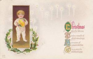 Christmas Poem, Toddler holding large ball, holly  10-20s