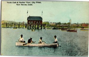 Yacht Club & Harbor View, City Point, New Haven CT Vintage Postcard Q12