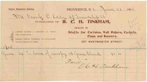 1905 Billhead, D. C. H. TINKHAM, Curtains, Wall Papers, P...