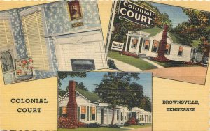 BROWNSVILLE TN Colonial Court Roadside Tennessee Vintage Postcard ca 1930s