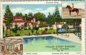 1945 Corona, California Postcard FULLER GUEST RANCHO Pool View Curteich Linen