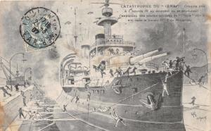 CATASTROPHE OF THE JENA (IENA)~FRENCH BATTLESHIP~ARTIST DRAWING POSTCARD c1907