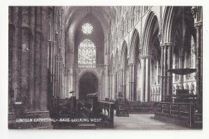 UK Lincoln Cathedral Nave Looking West Interior Queen Series TT&S Postcard