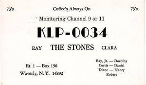 CB QSL - KLP0034, The Stones, Waverly NY