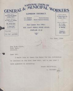 Lincoln Workers Municipal Union Mayor Of Lincolnshire Dinner Acceptance Letter