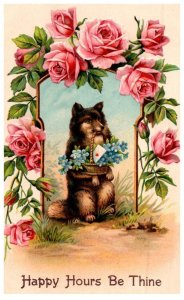Dog , Sitting up withbasket of flowers