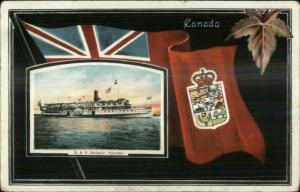 R&O Steamer Ship Toronto - Canadian Flag Border c1910 Postcard