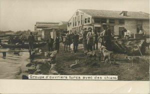 ottoman turkey, Turkish Workmen with Dogs (1899) RPPC Postcard