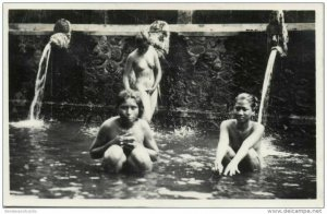 indonesia, BALI, Native NUDE Girls Bathing (1930s) RPPC Postcard