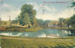 Springfield Illinois~Reservoir Park~Island in Lake~Steps Up Hill~Buildings~1913