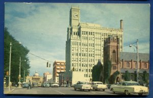 Jackson MS Capitol Street scene view cars old chrome postcard