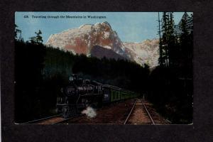 WA Railroad Train Locomotive Steam Engine Mountains Washington Postcard Vintage