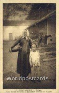 Annamite et son enfant revenant du marche Cochinchine Vietnam, Viet Nam Unused