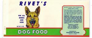 Rivet's Dog Food German Shepherd Joliet IL Vintage Can Label