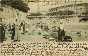 1900 Nice / Nica / Nizza France Postcard: Several Washerwomen at Work