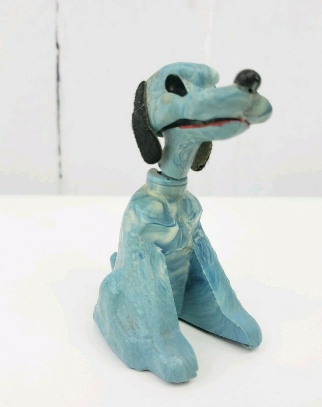 Vintage Blue Marble Plastic Toy Dog Bobble Nodder Head & Mouth Move JVZ Company