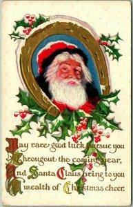 Vintage 1910s CHRISTMAS Embossed Postcard SANTA CLAUS / Golden Horseshoe /Holly