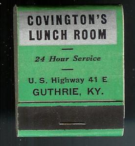 COVINGTONS LUNCH ROOM Ky 1950's Full Unstruck Matchbook