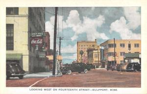Gulfport Mississippi Fourteenth Street Scene Antique Postcard K103563