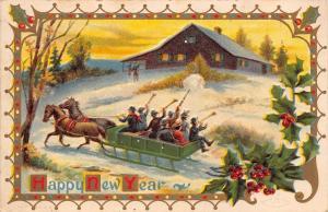 New Year~Revelers In Horse Drawn Sleigh~Blow Horns Toward Farm House~Emboss 1909