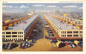 Chicago IL Birdseye View: South Water Market~Tractor Trailers~18 Wheelers 1940s