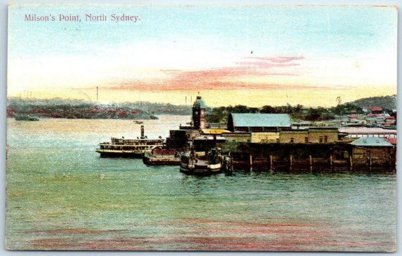 North Sydney, NSW Australia Postcard Milson's Point Boats Steamers Dock c1910s