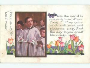 Pre-Linen easter religious ALTAR BOYS SINGING IN CHURCH k3131