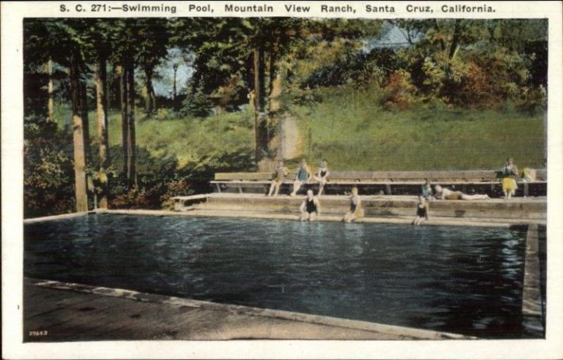 Santa Cruz CA Mountain View Ranch Swimming Pool c1920 Postcard rpx