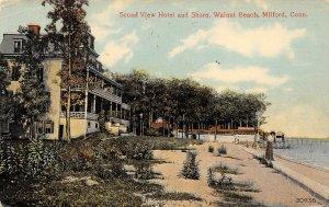 LP07 Walnut Beach Milford Connecticut Postcard Sound View Hotel Shore