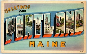 PORTLAND Maine Large Letter Postcard Tichnor Linen #68273 c1940s Unused